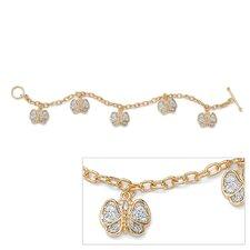 Gold Plated Filigree Butterfly Charm Bracelet