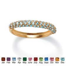 Gold Plated Birthstone Cluster Stackable Ring