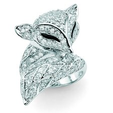 Silvertone Diamond Ultra Cubic Zirconia Fox Ring