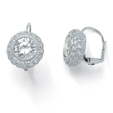 Platinum/Silver Round Cubic Zirconia Pierced Earrings