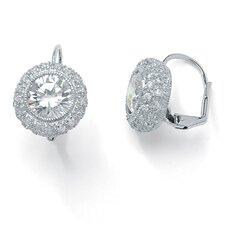 Platinum/Silver Round Cubic Zirconia Pierced Earrings