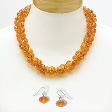 Silvertone Amber-Colored Crystal Jewelry Set
