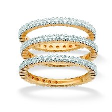 Gold Plated Diamond Accent Bands (Set of 3)