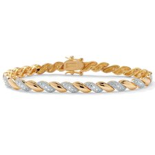 14k Gold Plated Diamond Wave Bracelet