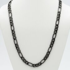 "30"" Black Ruthenium Figaro-Link Necklace"