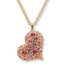 <strong>Palm Beach Jewelry</strong> Goldtone Pink Crystal Heart Shaped Pendant