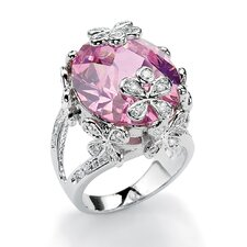 Silvertone Pink and White Cubic Zirconia Flower Ring