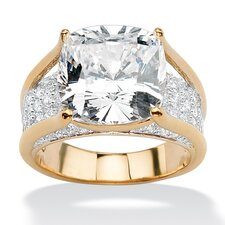 Gold Plated Cushion-Cut and Round Cubic Zirconia Ring