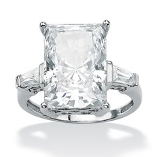 Platinum/Silver Radiant-Cut and Baguette Cubic Zirconia Ring