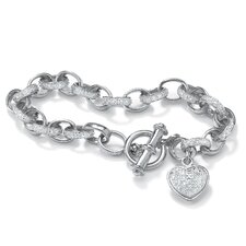 Platinum Plated Diamond Accent Heart Charm Bracelet