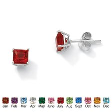 Sterling Silver Princess-Cut Birthstone Earrings