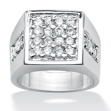 <strong>Palm Beach Jewelry</strong> Platinum Plated Men's Cubic Zirconia Ring