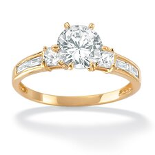 18k Gold/Silver Over Multi-Shaped Cubic Zirconia Ring