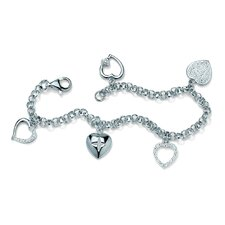 Platinum Plated Multi-Heart Diamond Accent Bracelet