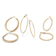 Gold Plated 3 Pairs Hoop Pierced Earring Set