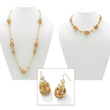 Gold Plated Multi-Ringlet Circle Jewelry Set