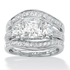 Platinum Plated Princess and Round Cubic Zirconia Ring Set