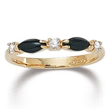 Gold Plated Onyx Crystal Ring