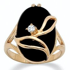 Gold Plated Onyx/Crystal Ring