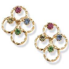 Gold Plated Multi-Color Crystal Earrings