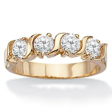 Gold Plated Cubic Zirconia Wedding Band