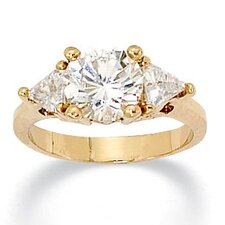 Gold Plated Round and Trilliant-Cut Cubic Zirconia Ring
