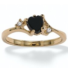 <strong>Palm Beach Jewelry</strong> Gold Plated Onyx and Crystal Ring