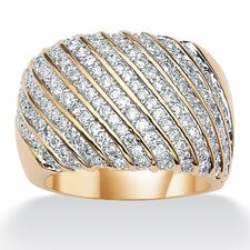 14k Gold Plated Cubic Zirconia Diagonal-Row Band