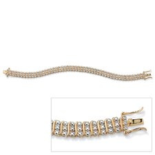 14k Gold Plated Diamond Accent Tennis Bracelet