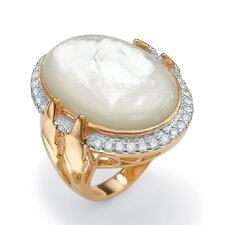14k Gold Plated Mother-of-Pearl and Cubic Zirconia Ring