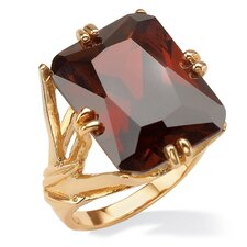Gold Plated Emerald-Cut Red Cubic Zirconia Branch Ring