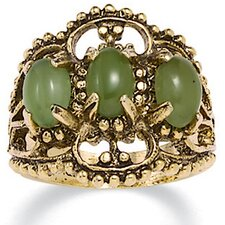 14k Gold - Plated Antiqued Jade Ring