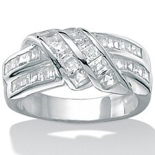 Cubic Zirconia Silver Band