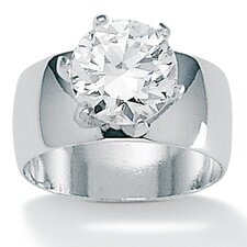"0.38"" Sterling Silver Cubic Zirconia Ring"