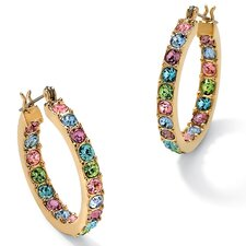 Multi Color Crystal Hoop Earrings