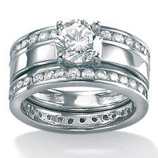 Cubic Zirconia Platinum / Sterling Silver Wedding Set