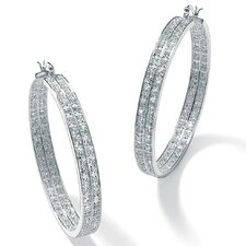 <strong>Palm Beach Jewelry</strong> Cubic Zirconia 2 Row Silvertone Hoops