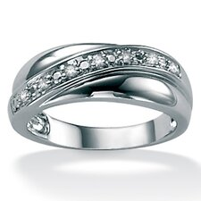 <strong>Palm Beach Jewelry</strong> Men's Diamond Plat / Sterling Silver Band