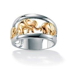 Silver Tutone Elephant Ring