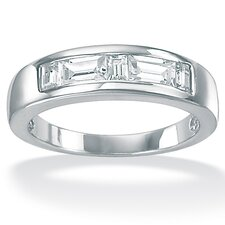 <strong>Palm Beach Jewelry</strong> Men's Cubic Zirconia Platinum / Sterling Silver Ring