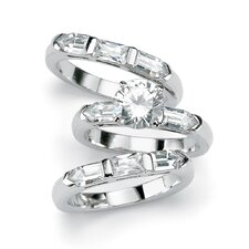 3 Pieces Cubic Zirconia Silver Bridal Set