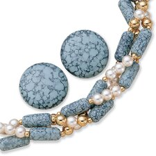 <strong>Palm Beach Jewelry</strong> 2 Piece Simulated Turquoise / Cultured Pearl Set