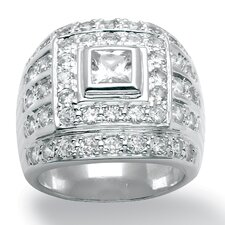 <strong>Palm Beach Jewelry</strong> Men's DiamonUltra and Trade Cubic Zirconia Sterling Silver Ring