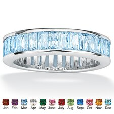Birthstone Sterling Silver Band