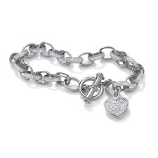 Diamond Accent Heart Charm Bracelet