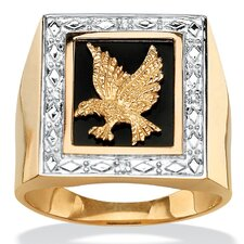 Men's Diamond Accent Onyx Eagle Ring