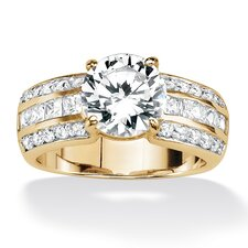 Round and Princess - Cut Cubic Zirconia Ring
