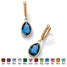 Birthstone Drop Pierced Earrings