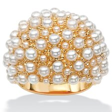 Simulated Cultured Pearl Cluster Dome Ring