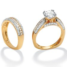 <strong>Palm Beach Jewelry</strong> Round Cubic Zirconia Squared Wedding Ring Set
